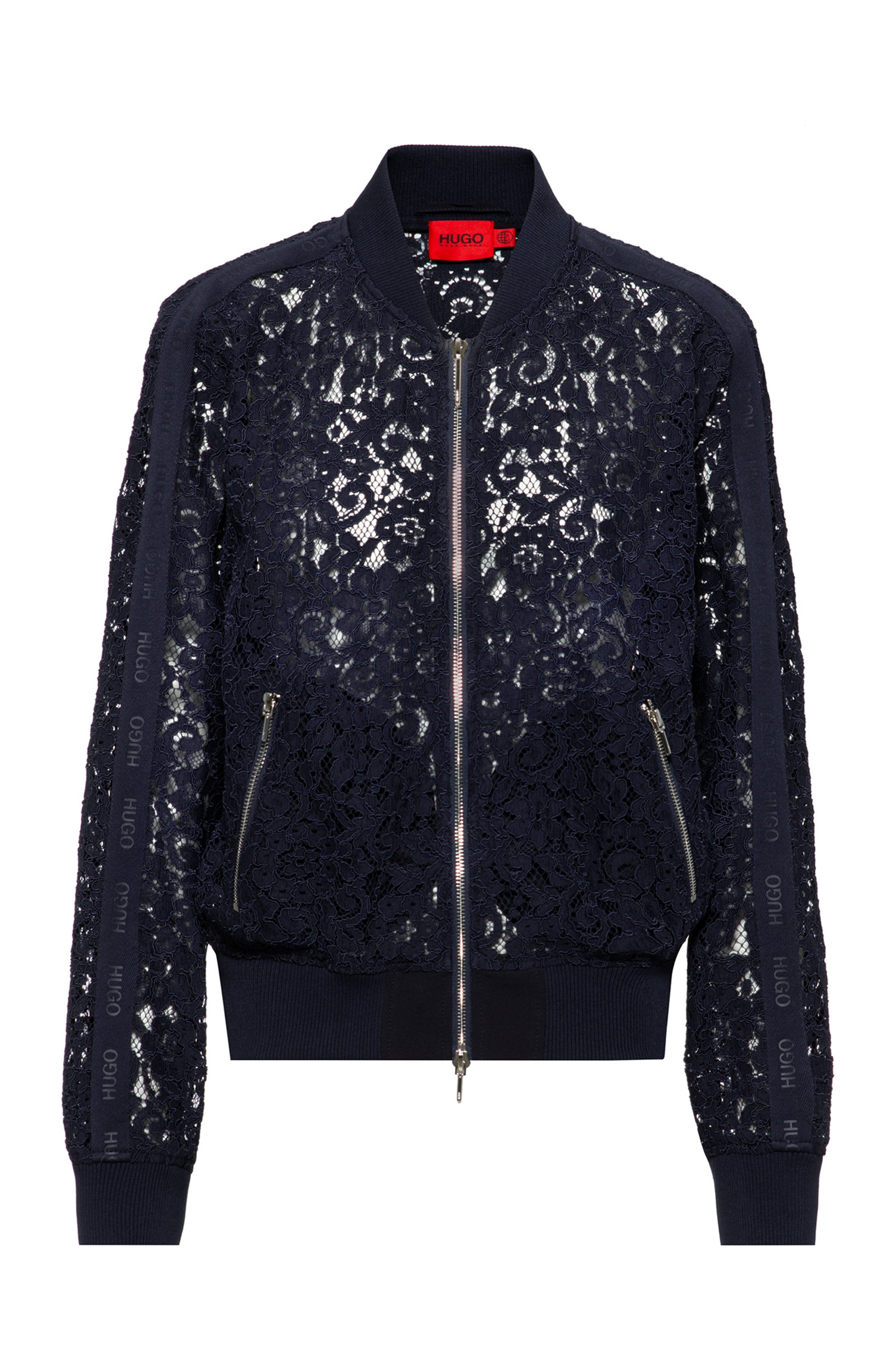 Floral-lace bomber jacket with logo-tape sleeves, Dark Blue