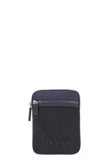 Mesh-trimmed nylon reporter bag with detachable shoulder strap, Dark Blue