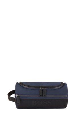 Structured-nylon washbag with mesh trims, Dark Blue