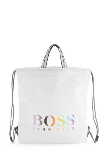 Unisex drawstring bag in nylon with rainbow logo, White