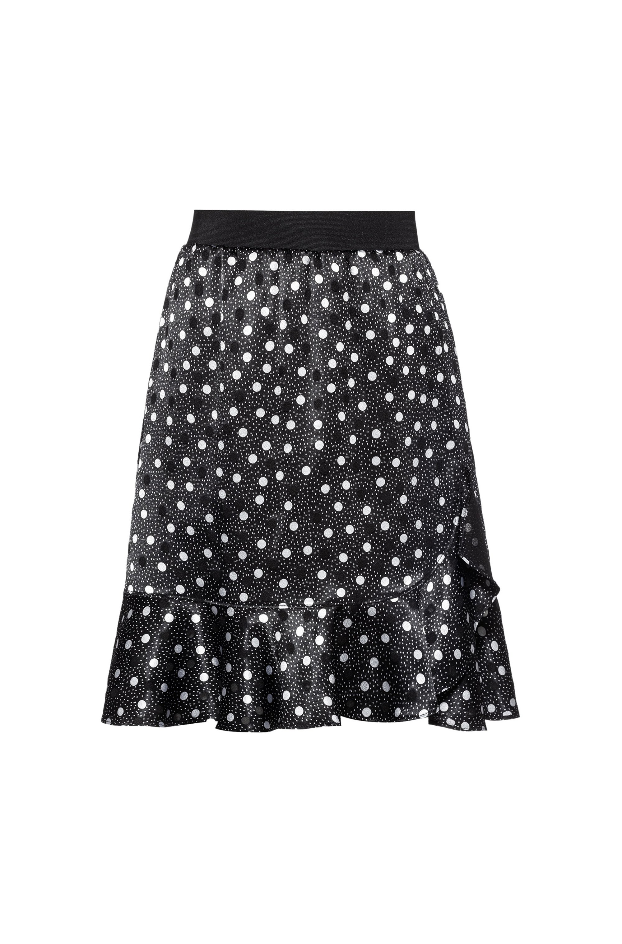 Mini skirt with polka-dot print and ruffle detail, Patterned