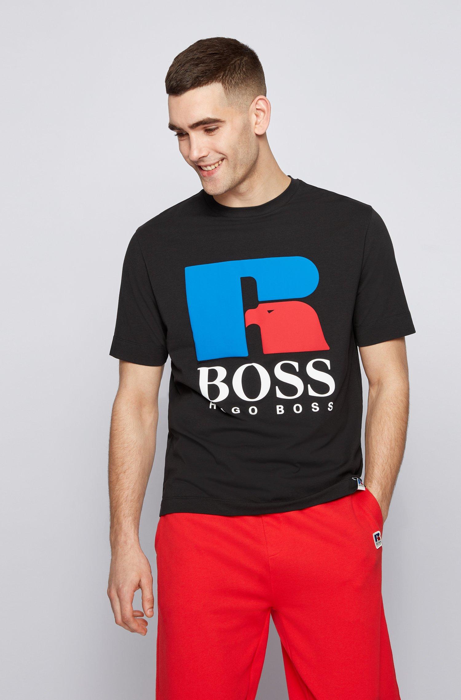 T-shirt mixte Relaxed Fit en coton stretch à logo exclusif, Noir