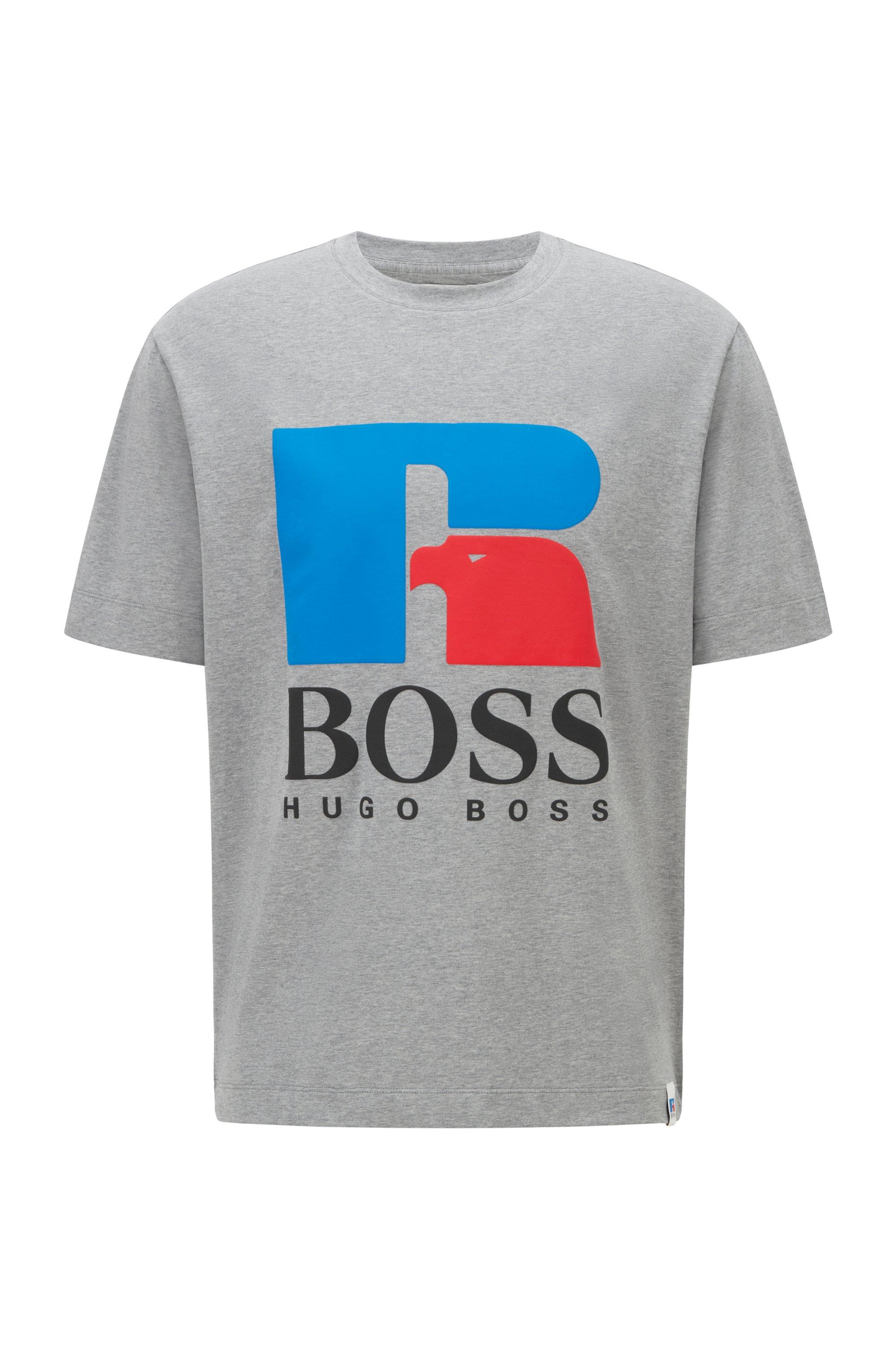 T-Shirt aus Stretch-Baumwolle mit exklusivem Logo, Grau
