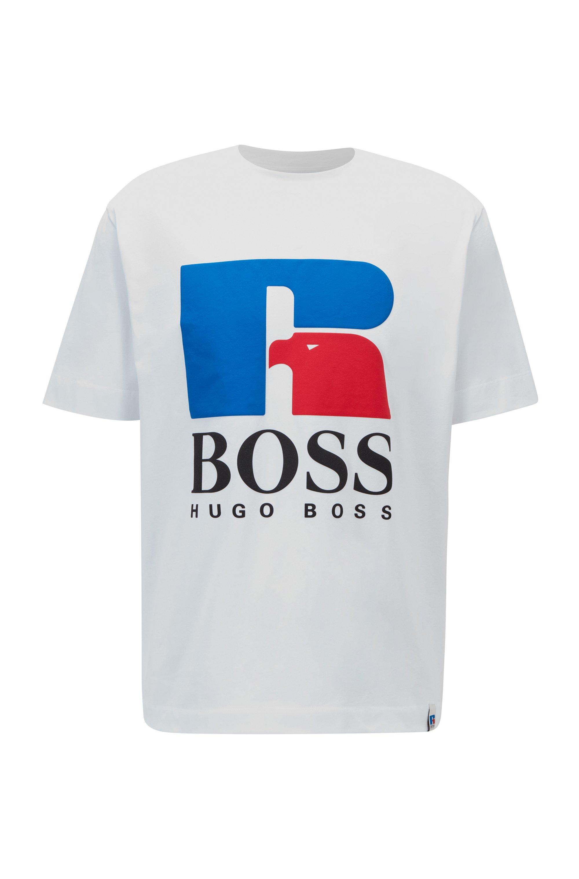 T-shirt mixte Relaxed Fit en coton stretch à logo exclusif, Blanc
