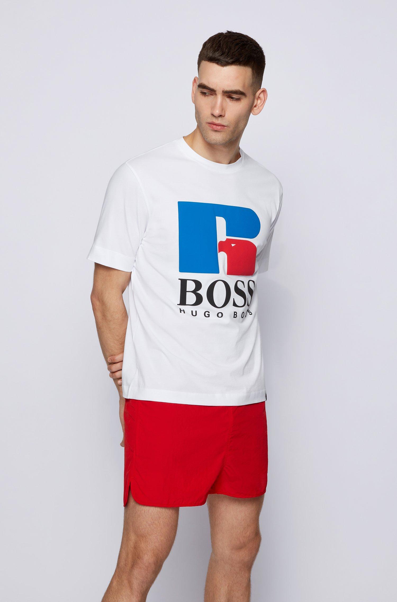 T-Shirt aus Stretch-Baumwolle mit exklusivem Logo, Weiß