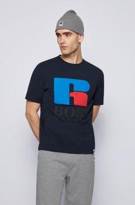 Camiseta unisex relaxed fit en algodón elástico con logo exclusivo, Azul oscuro