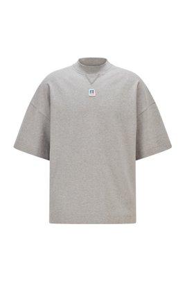 T-Shirt aus Bio-Baumwolle mit exklusivem Logo, Grau