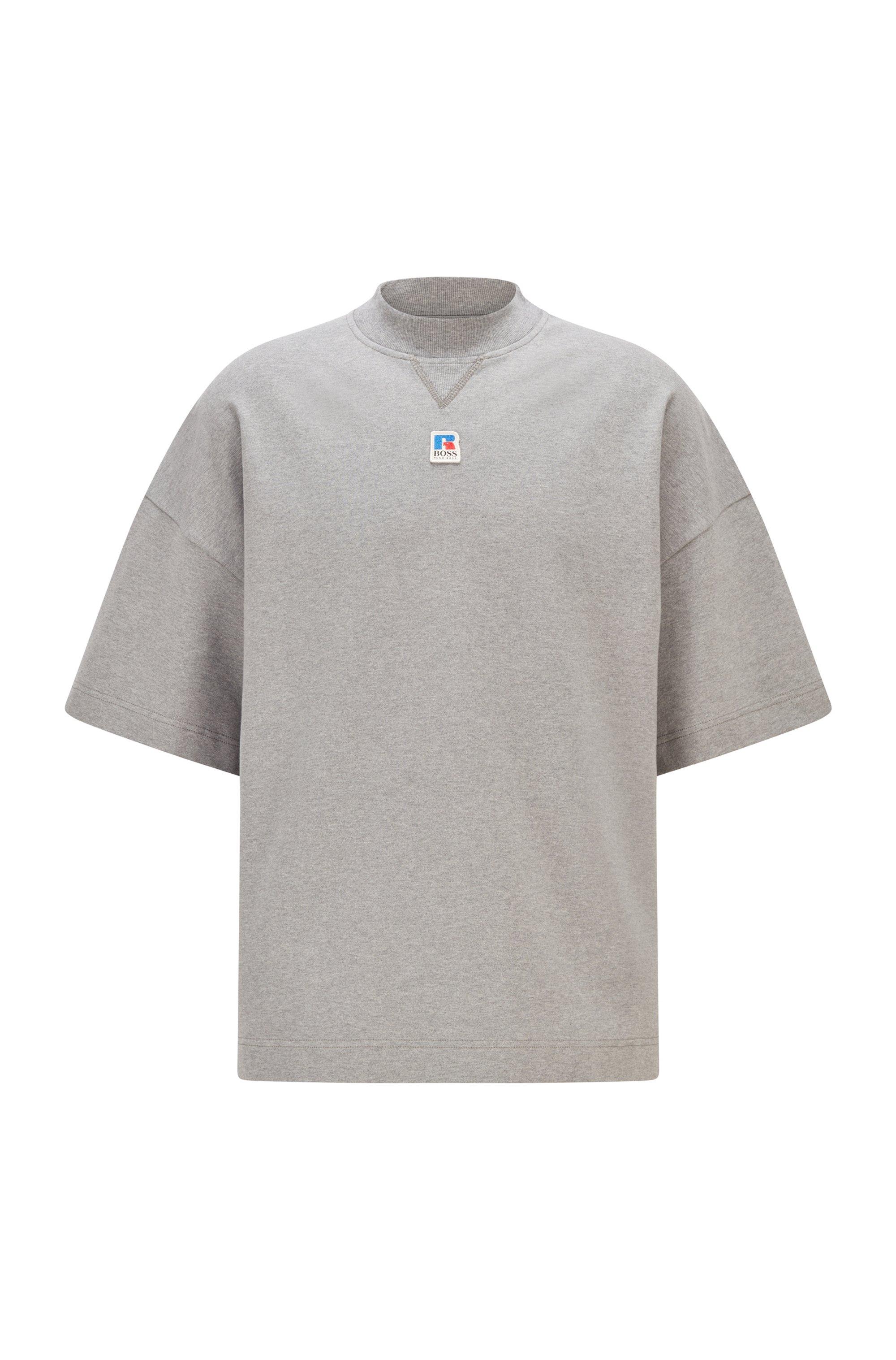 Camiseta unisex relaxed fit en algodón orgánico con logo exclusivo, Gris