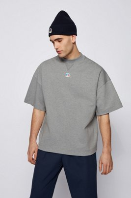 Relaxed-fit unisex T-shirt in organic cotton with exclusive logo, Grey