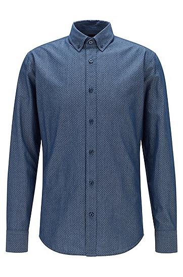 多臂提花编织工艺棉质修身衬衫,  407_Dark Blue