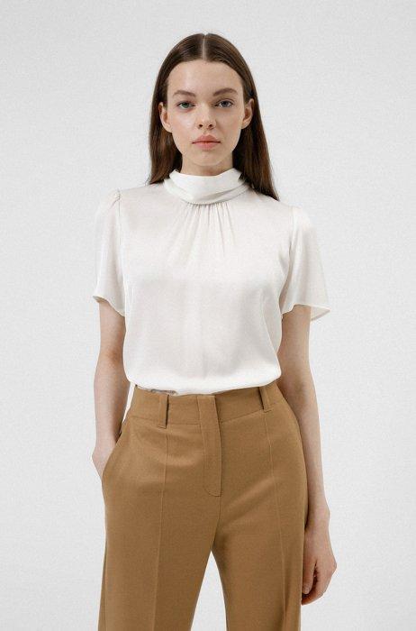 Stretch-silk top with mock neckline, White