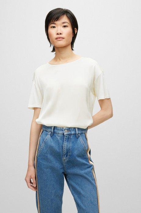 T-shirt en jersey mercerisé avec devant en soie stretch, Blanc