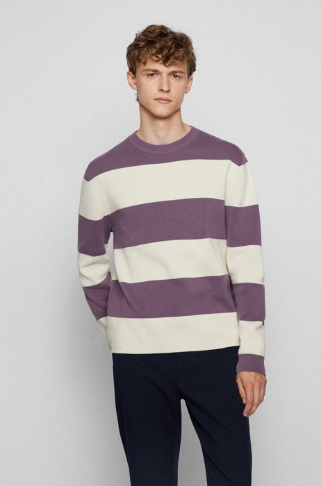 Relaxed-fit sweater in mercerised cotton with block stripes, Purple
