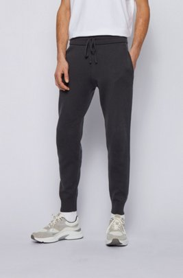 Side-stripe tracksuit bottoms in cotton and wool, Dark Blue