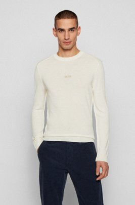 Merino-wool sweater with embroidered logo, White