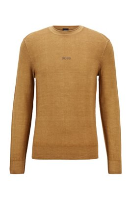 Merino-wool sweater with embroidered logo, Beige