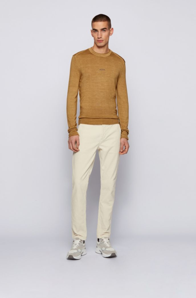 Merino-wool sweater with embroidered logo
