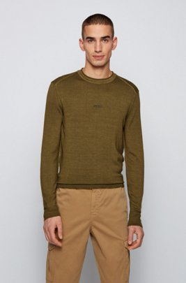 Merino-wool sweater with embroidered logo, Khaki