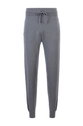 Cuffed tracksuit bottoms in merino wool with side stripes, Grey