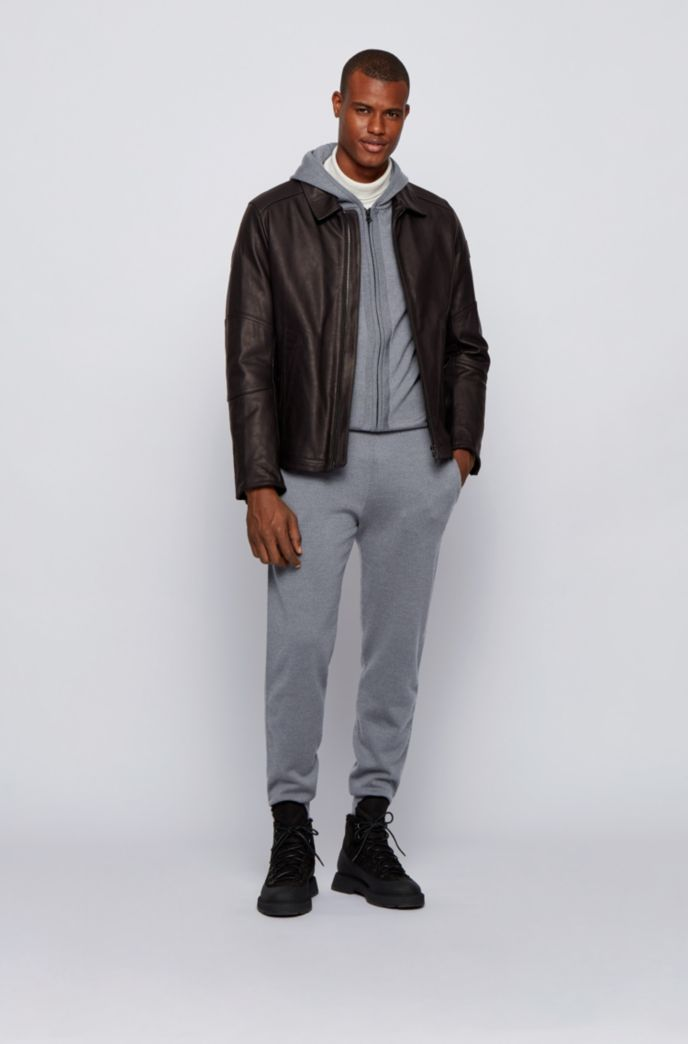 Cuffed tracksuit bottoms in merino wool with side stripes