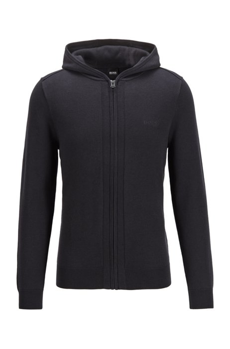 Zip-through hooded sweater in cotton and wool, Dark Blue
