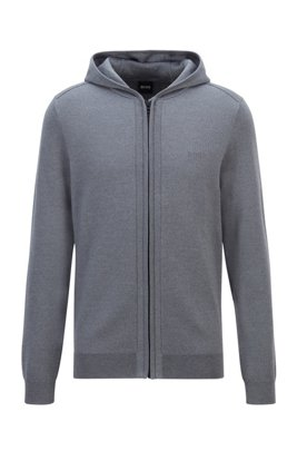 Merino-wool hooded sweater with zip-through front, Grey