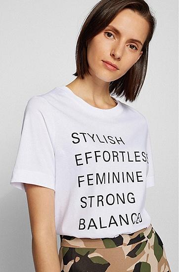 标语印花宽松版棉质 T 恤,  100_White