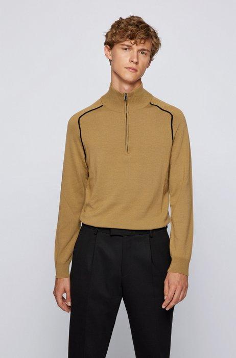 Troyer sweater in virgin wool with contrast details, Beige