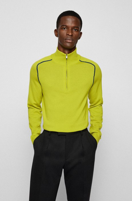 Troyer sweater in virgin wool with contrast details, Green