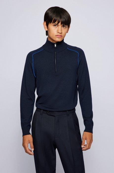 Troyer sweater in virgin wool with contrast details, Dark Blue