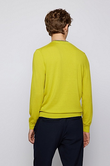 高捻度初剪羊毛常规版型毛衣,  321_Bright Green