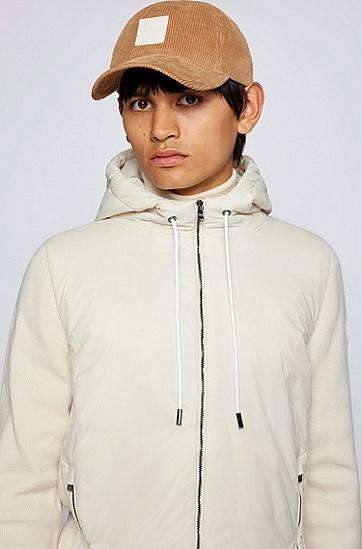 高捻度羊毛混合面料连帽夹克,  131_Open White