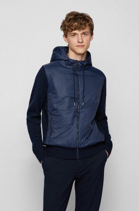 Veste hybride à capuche en laine vierge à forte torsion, Bleu foncé
