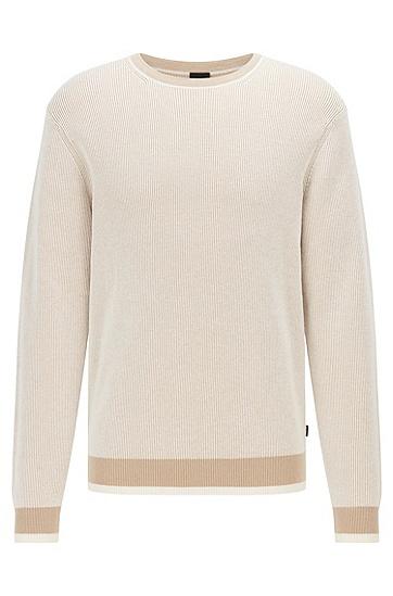 棉质和初剪羊毛混纺面料条纹结构毛衣,  275_Light Beige