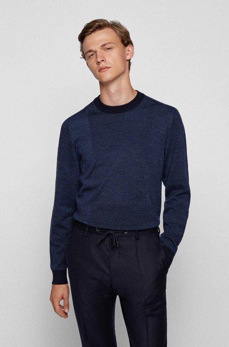Crew-neck sweater in Italian wool with patchwork effect, Dark Blue