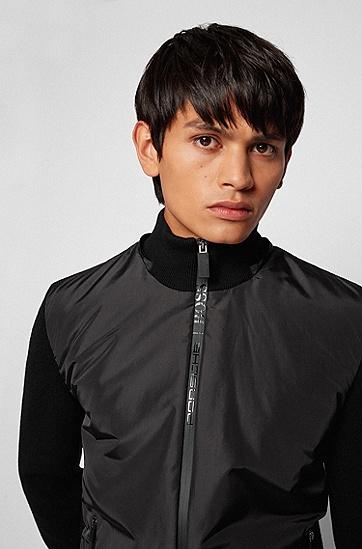 可拆卸风帽徽标拉链混合材质夹克,  001_Black