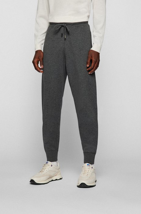 Regular-fit tracksuit bottoms in cotton and virgin wool, Grey
