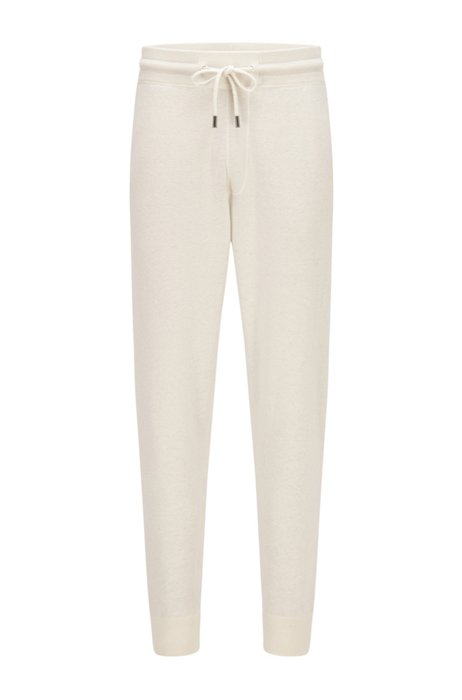Regular-fit tracksuit bottoms in cotton and virgin wool, White