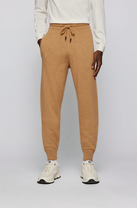 Regular-fit tracksuit bottoms in cotton and virgin wool, Beige