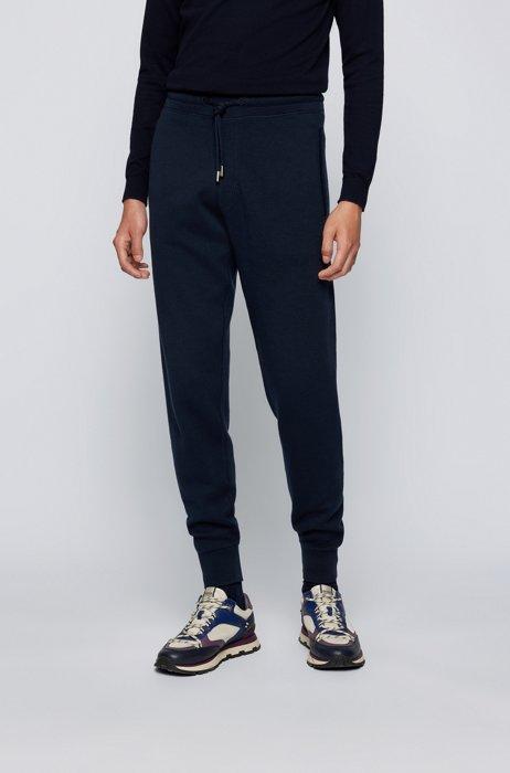 Regular-fit tracksuit bottoms in cotton and virgin wool, Dark Blue