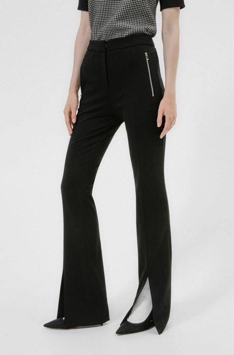 Slim-fit bootcut broek met splitten aan de voorkant, Zwart