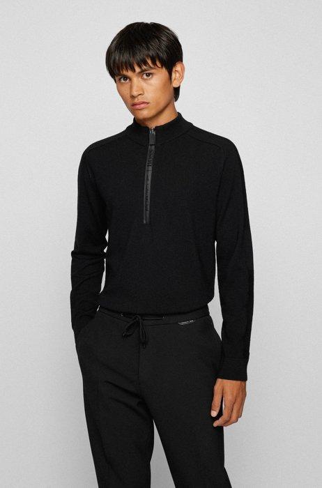 Pull à encolure zippée imperméable avec logo, Noir