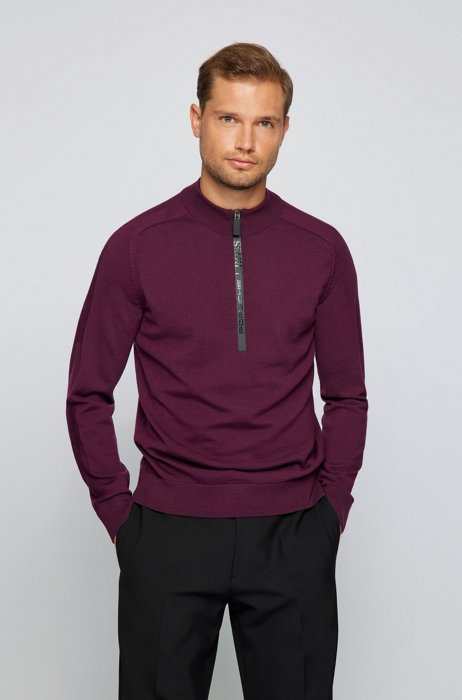 Troyer sweater with branded waterproof zip, Purple