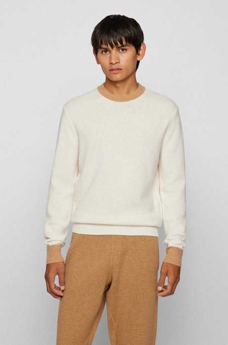 Colour-Block-Pullover aus Schurwolle und Kaschmir, Weiß
