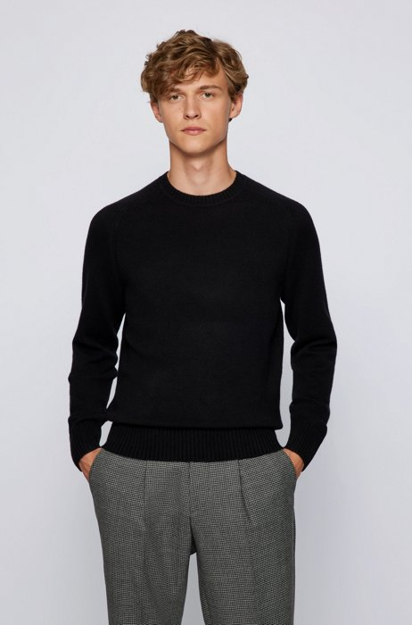 Regular-fit sweater in pure cashmere  , Black