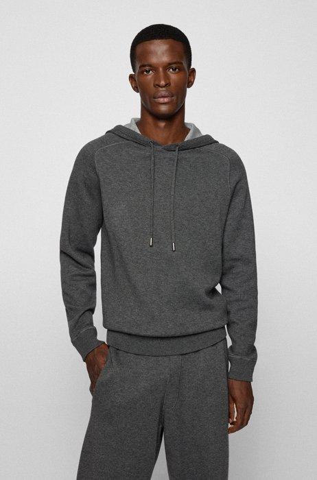Hooded sweater in cotton and wool with contrast interior, Grey