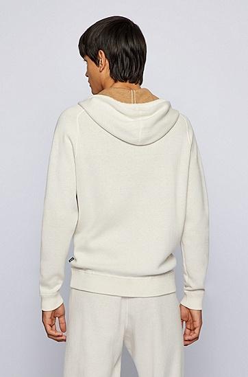撞色内里棉加羊毛连帽毛衣,  131_Open White