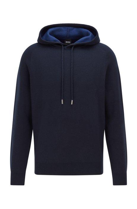 Trui van katoen en wol met capuchon en contrasterende binnenkant, Donkerblauw