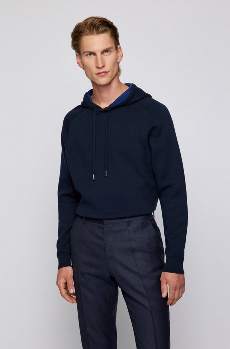 Hooded sweater in cotton and wool with contrast interior, Dark Blue