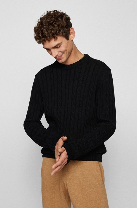 Regular-fit sweater with cable-knit structure, Black